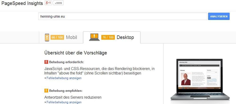 Pagespeed-Test dieser Seite - Screenshot Henning Uhle