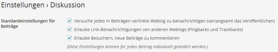 Pingback-Einstellung in WordPress - Screenshot Henning Uhle