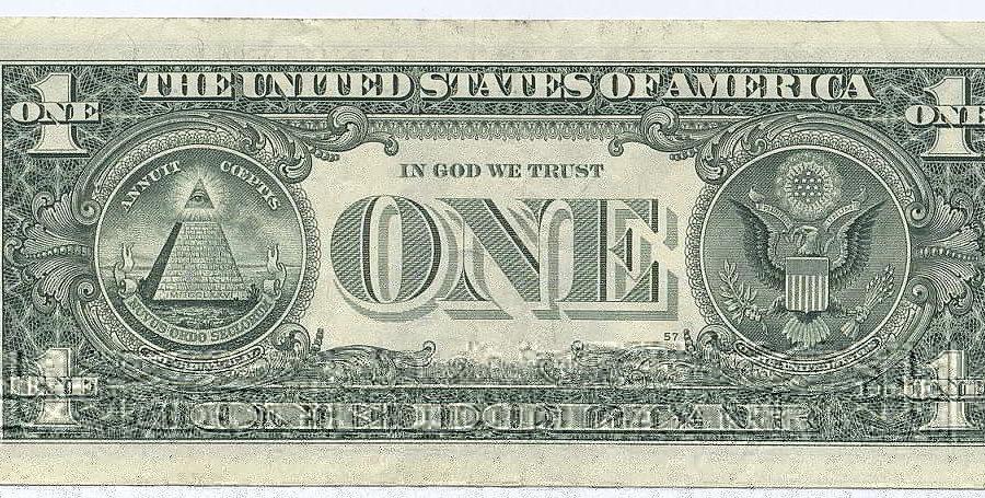 1-Dollar-Note der USA mit einer 13-stufigen Pyramide und dem allsehenden Auge - Public Domain Picture via Wikimedia Commons