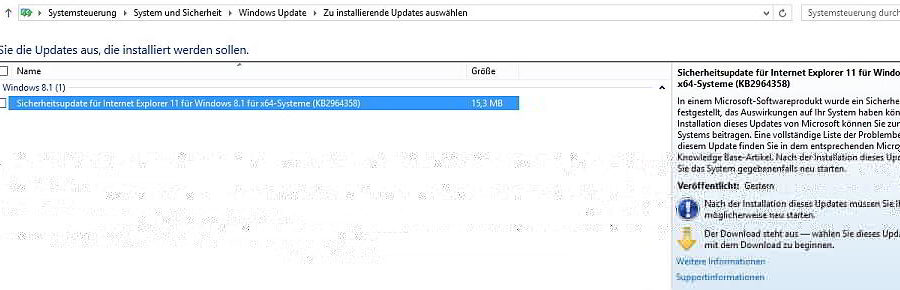 Wichtiges Sicherheitsupdate für Internet Explorer steht zur Verfügung - Screenshot Henning Uhle