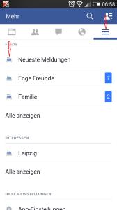 Screenshot aus der Facebook App mit den Feeds - Henning Uhle