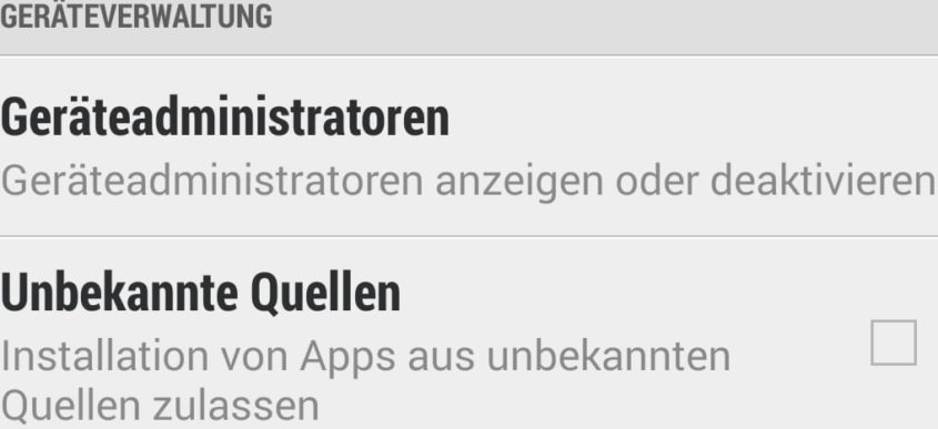 """""""Unbekannte Quellen"""" in den Android-Einstellungen - Screenshot Henning Uhle"""