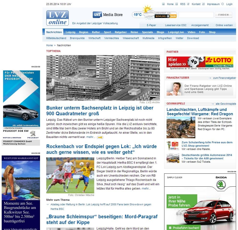 "Startseite von lvz-online.de ""Above the fold"" - Screenshot Henning Uhle"