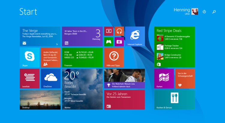 Kacheloberfläche bei Windows 8.1 - Screenshot Henning Uhle