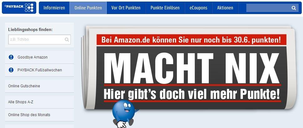Payback informiert, dass Amazon kein Partner mehr ist - Screenshot von payback.de