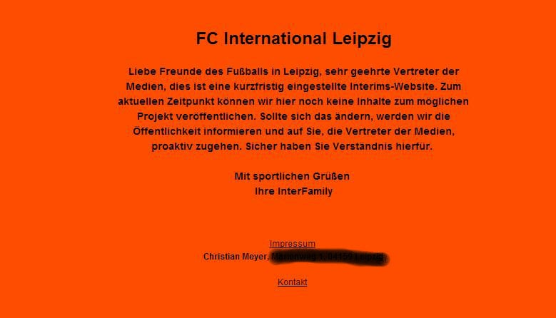 Screenshot der Webseite des FC International Leipzig