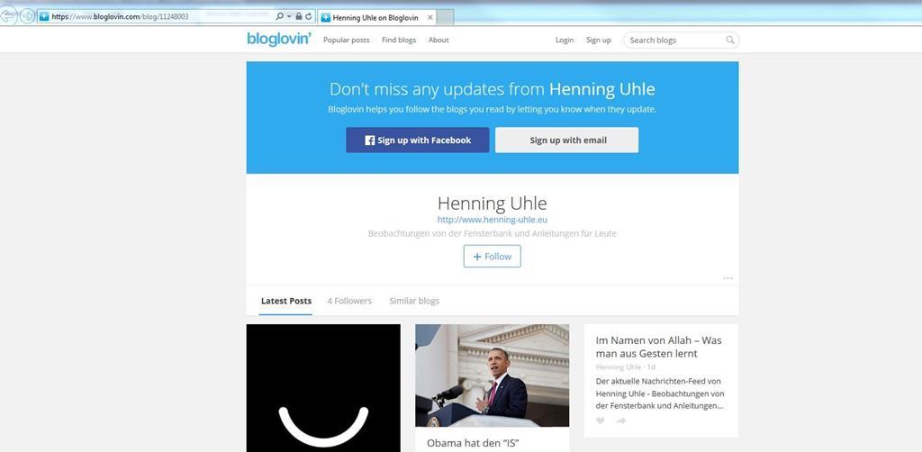 Bloglovin-Übersicht meiner Seite - Screenshot Henning Uhle