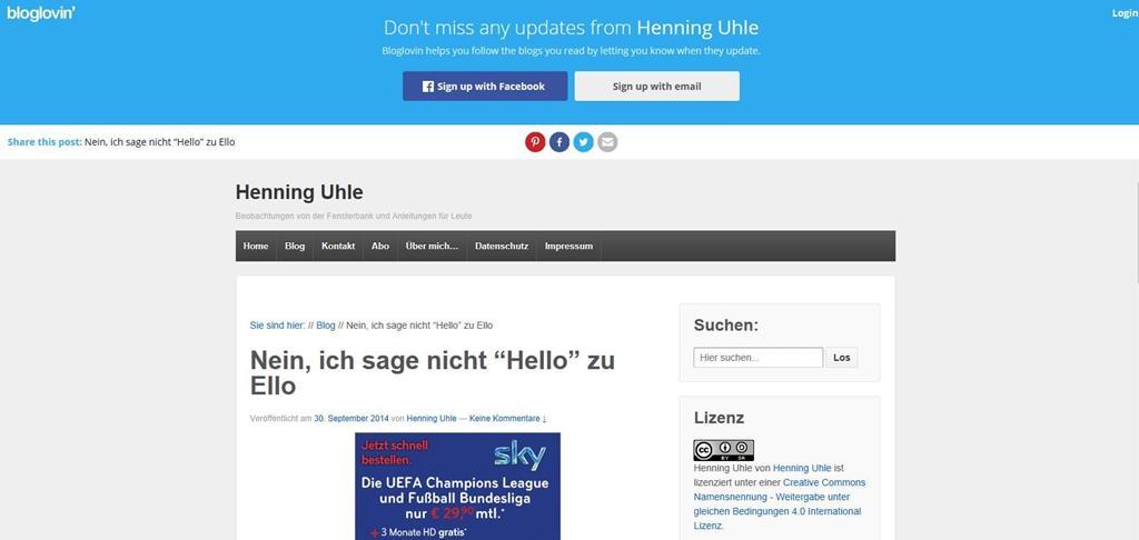 Screenshot von Bloglovin, wo Artikel von mir eingebettet werden - Screenshot Henning Uhle