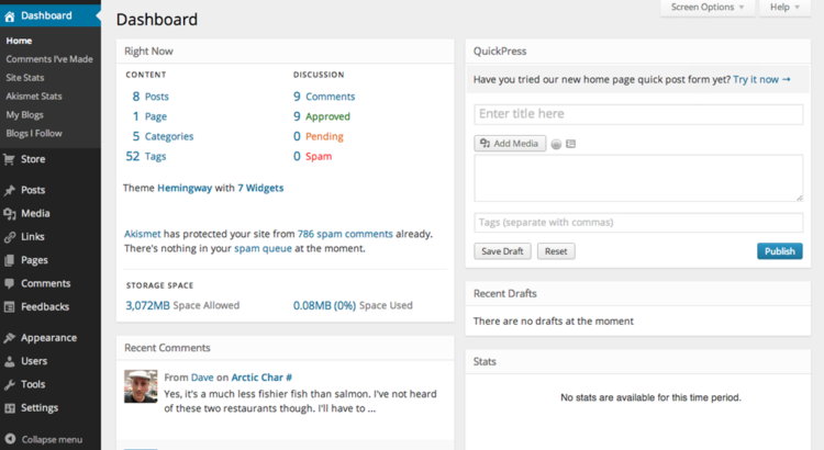 WordPress MP6 dashboard - By WordPress, screenshot: Dave Clements [see page for license], via Wikimedia Commons