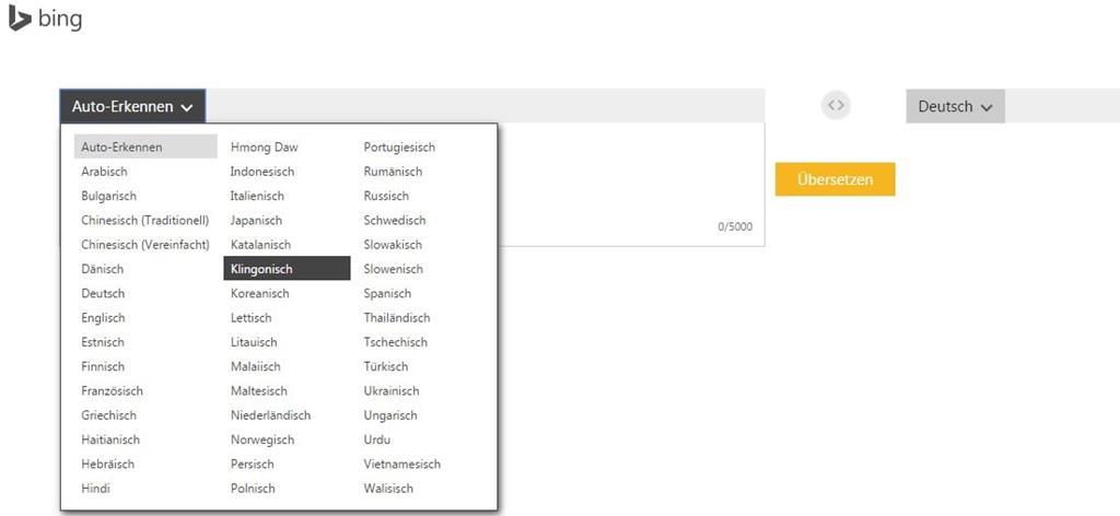 Klingonisch übersetzen mit Bing - Screenshot Henning Uhle