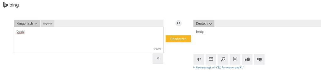 """""""Qapla'"""" mit Bing übersetzt - Screenshot Henning Uhle"""