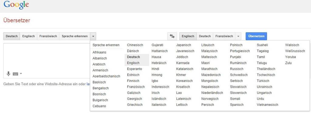 Kein Klingonisch beim Google-Übersetzer verfügbar - Screenshot Henning Uhle