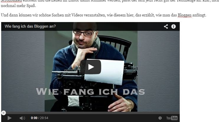 Video im Editor eingefügt - Screenshot Henning Uhle