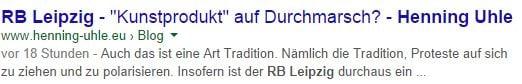 Artikel RB Leipzig von mir in der Google-Suche mit Anrisstext - Screenshot Henning Uhle