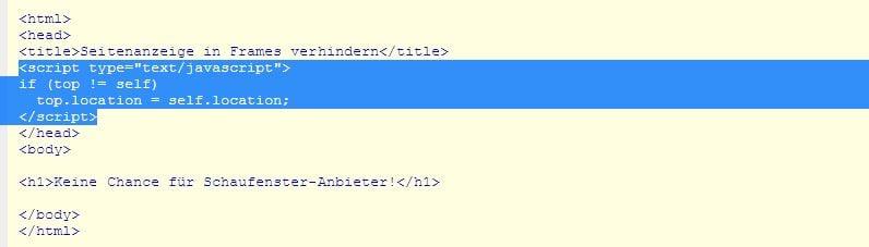 JavaScript-Codeschnipsel von selfHTML - Screenshot Henning Uhle