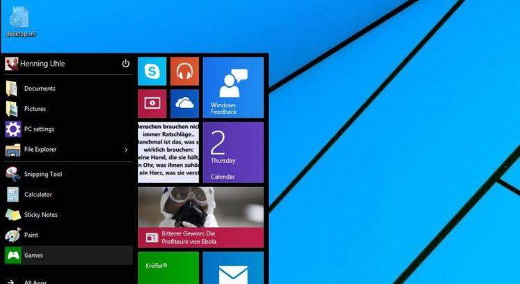Desktop von Windows 10 - Screenshot Henning Uhle