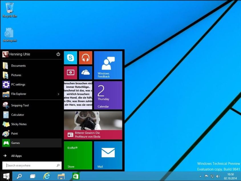 Desktop von Windows 10 - Screenshot Henning Uhle