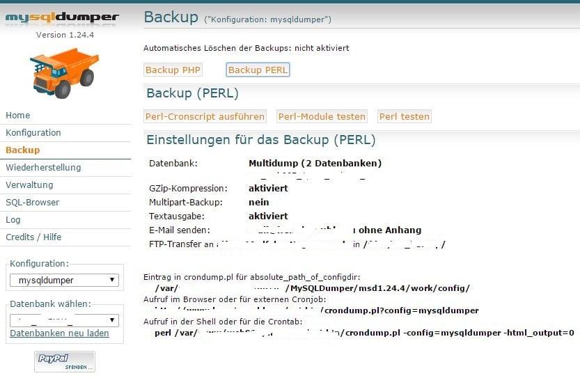 Anzeige der Einstellungen für das Backup (PERL)