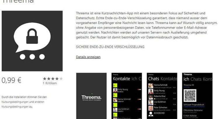 Threema für Windows Phone - Screenshot bei WindowsPhone.com