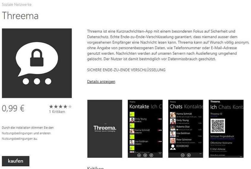 Threema für Windows Phone - Screenshot bei WindowsPhone.com