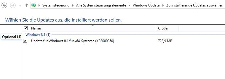 Windows optionales Update mit hoher Wichtigkeit