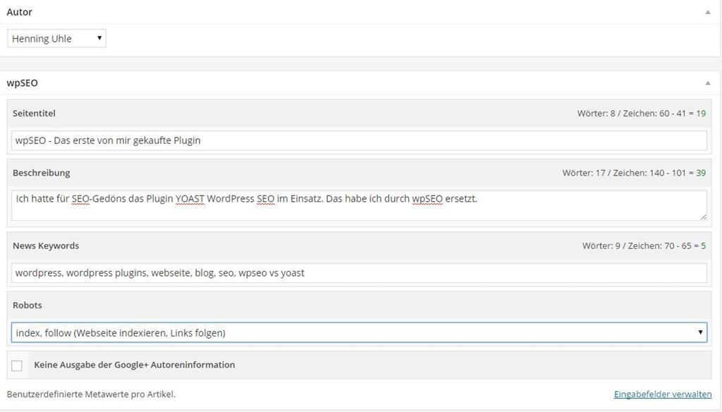 wpSEO-Einstellungen im Artikel-Editor - Screenshot Henning Uhle