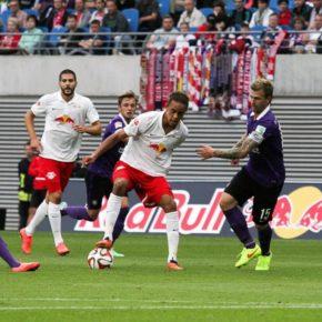 Yussuf Poulsen (RB Leipzig) in Aktion am 3. Spieltag in der Partie RB Leipzig gg. FC Erzgebirge Aue - (C) RB-Fans.de