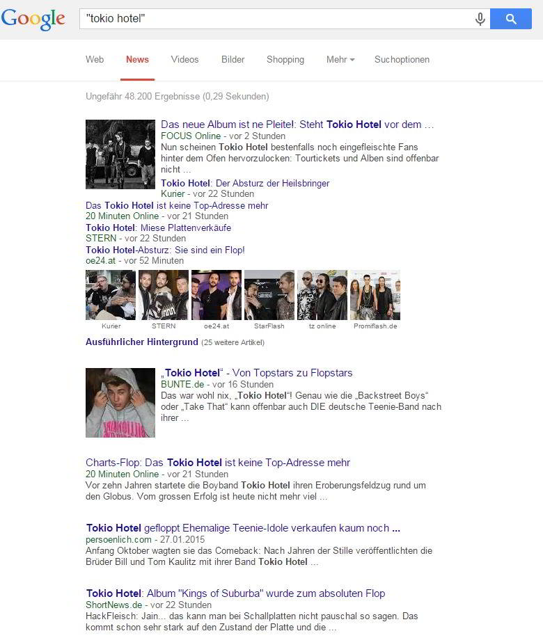 """Suchergebnisse zu """"Tokio Hotel"""" in den News von Google - Screenshot Henning Uhle"""