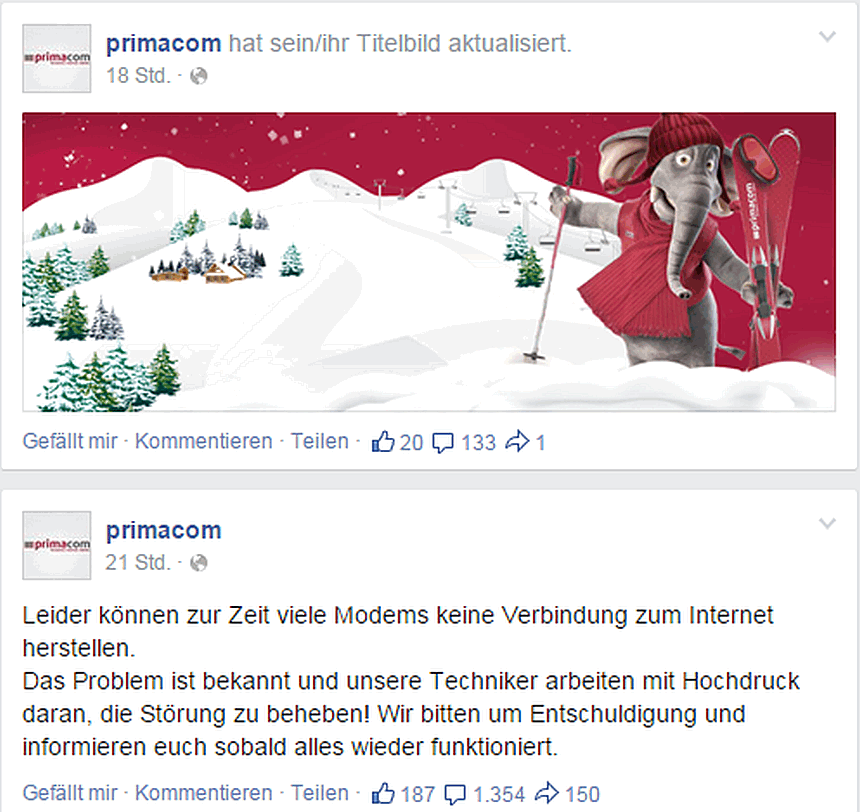 Die Primacom bei Facebook - Screenshot