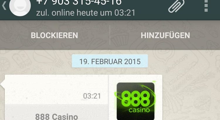 888 casino whatsapp spam