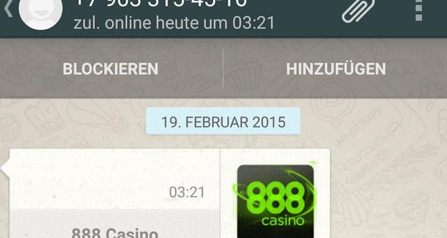 Nachrichten von 888 Casino direkt zu WhatsApp