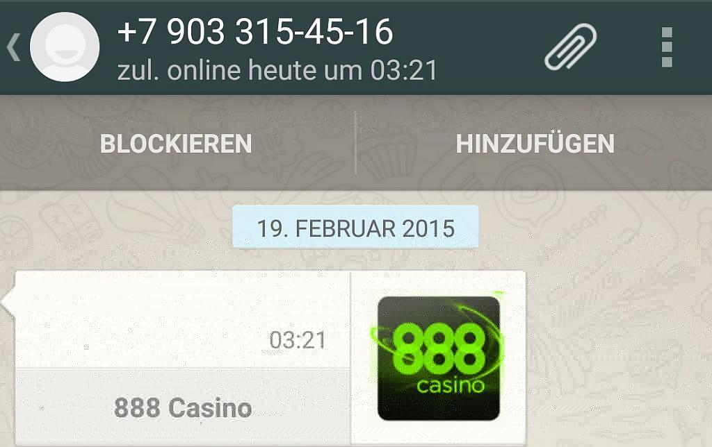888 Casino Whatsapp Nachricht