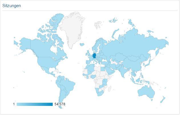 Laut Google Analytics wirde meine Seite von nahezu überall her aufgerufen