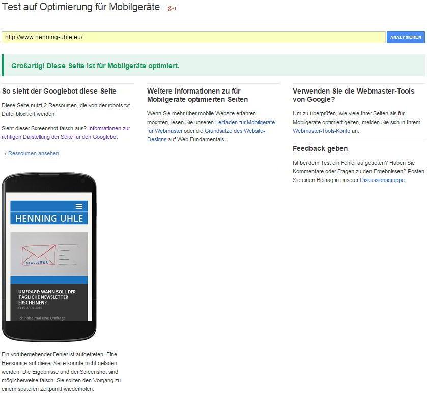 Meine Seite ist für Mobilgeräte optimiert, sagt Google