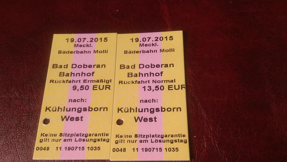 Die Molli-Fahrkarten für meine Tochter und mich