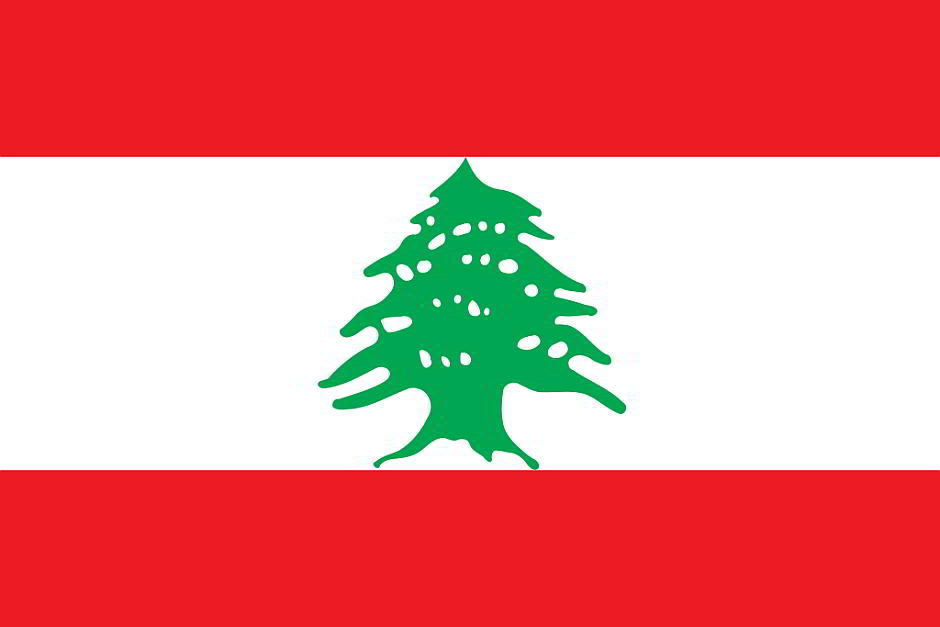 Flagge des Libanon - By Traced based on the CIA World Factbook with some modification done to the colours based on information at Vexilla mundi. [Public domain], via Wikimedia Commons