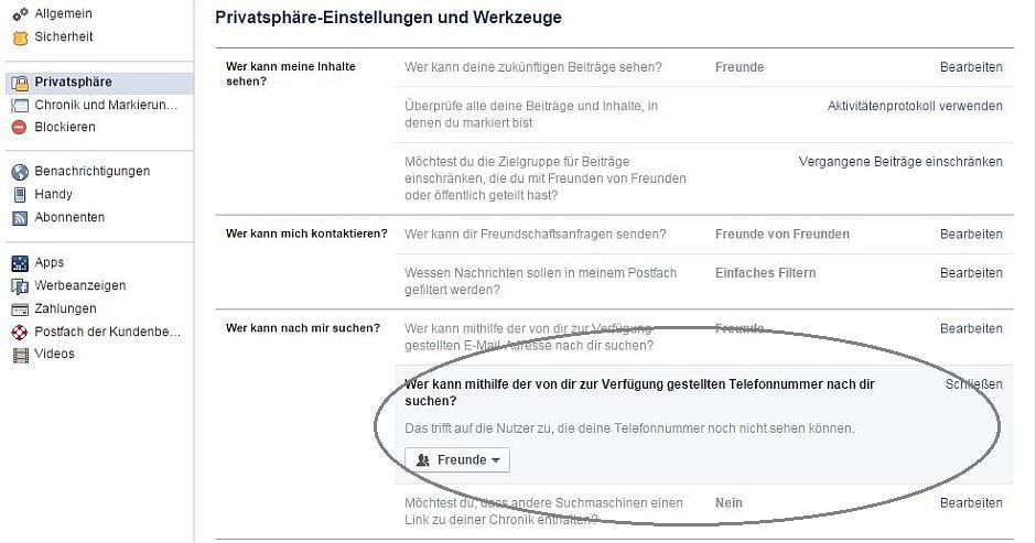Facebook: Privatsphäre-Einstellungen und Werkzeuge - Screenshot