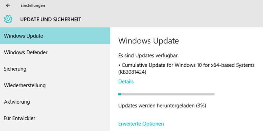 Windows 10 - Wichtiges Update KB3081424