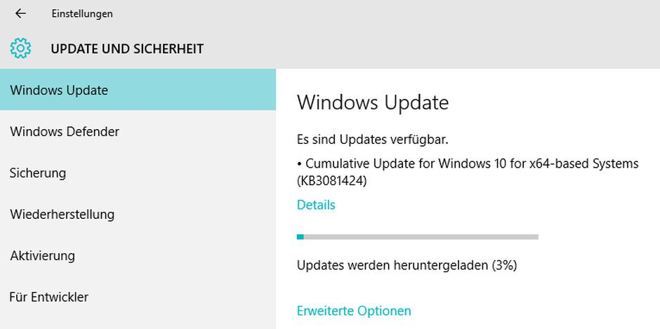 Windows 10 - Wichtiges Update KB3081424