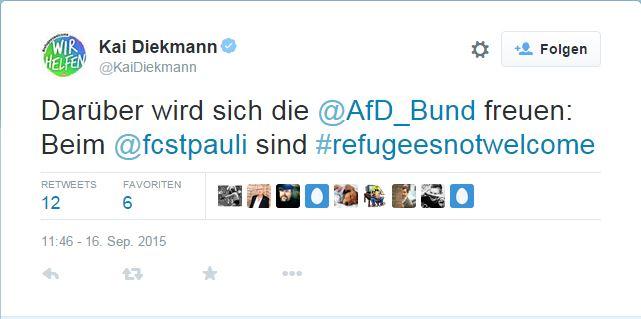 """BILD-Chef Kai Diekmann twitterte:  """"Darüber wird sich die @AfD_Bund freuen: Beim @fcstpauli sind #refugeesnotwelcome"""" - Screenshot vom Twitter-Profil @kaidiekmann"""