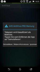 AVG-Warnung vor Telegram