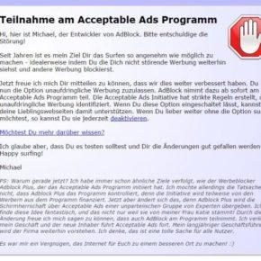 Acceptable Ads - Screenshot von AdBlock