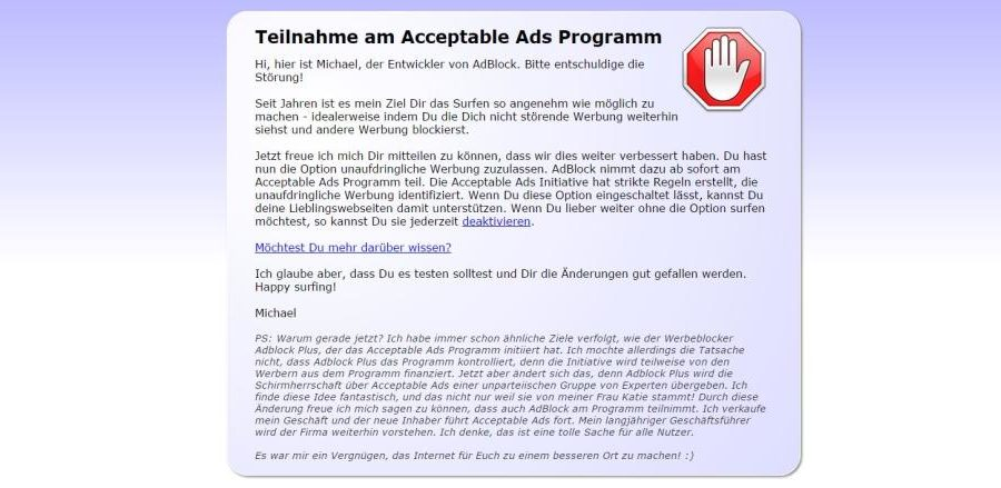 Acceptable Ads - Screenshot von AdBlock