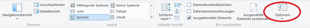 Optionen-Menü bei Windows 8.1