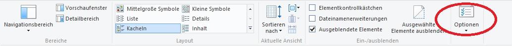Optionen-Menü bei Windows 8.1