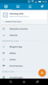 WordPress-Backend in der WordPress-App