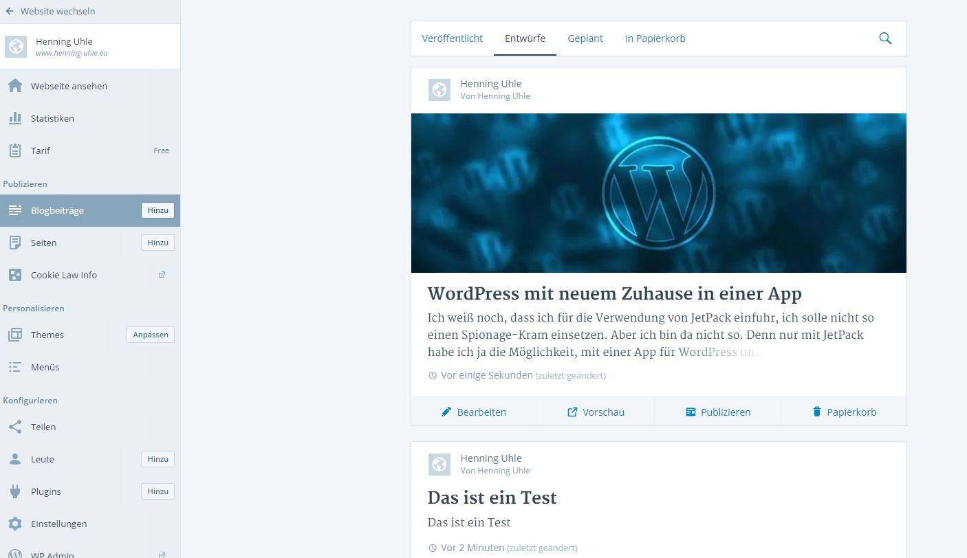 WordPress.com - Artikelübersicht