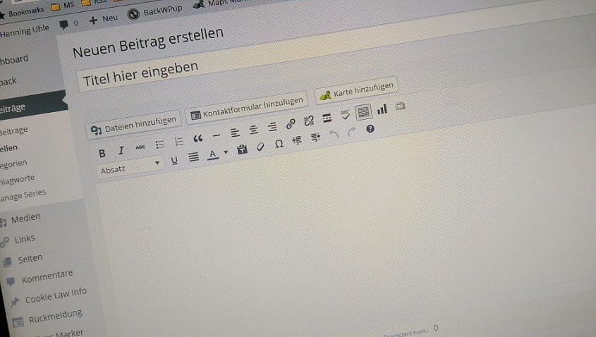 WordPress Dashboard - Neuer Artikel - Henning Uhle
