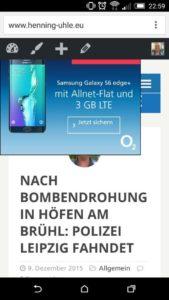 Blogartikel auf dem Smartphone mit störender Werbung
