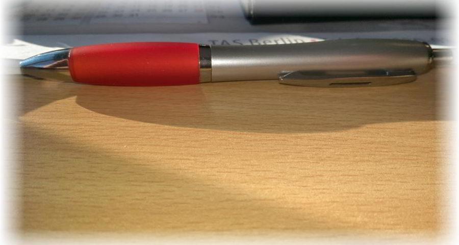 Den Stift hingelegt